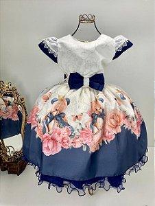 Vestido off-white  com  Azul marinho e flores 105