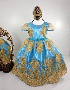 Vestido realeza Azul claro 1001