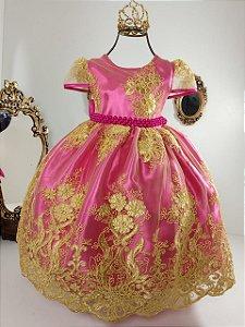 Vestido realeza Pink com dourado 1001