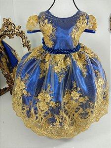 Vestido realeza  azul royal com dourado 1001