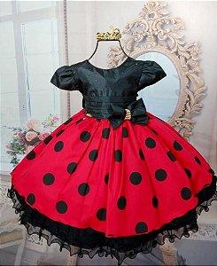 Vestido de Festa Minnie Vermelho c/ Laço Preto - Tam 1 / 3
