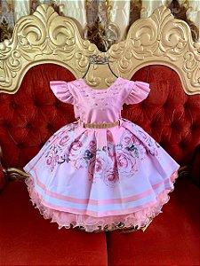 Vestido  infantil Rosa de luxo 1859