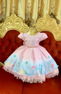Vestido  infantil fundo do mar 1874