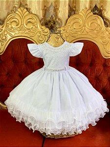 Vestido  branco infantil com nervura
