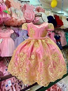 Vestido realeza rosa com dourado 1001