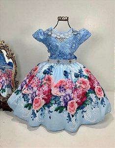 Vestido infantil floral Azul  2091