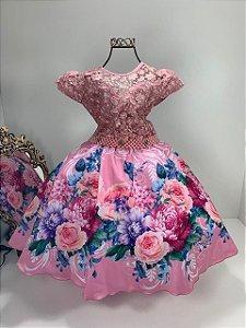 Vestido infantil floral  rosé 2091