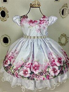Vestido De Festa Infantil Estampado com detalhe de Flor  - Tam. 1 / 3