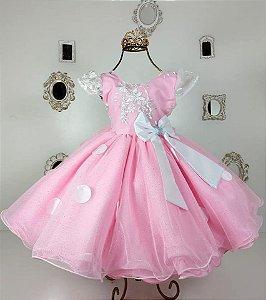 Vestido De Festa Infantil Minie Rosa  ou Barbie - Tam 1 / 3