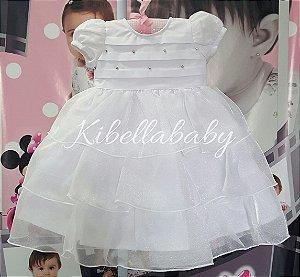 Vestido Infantil de Batizado Nelu Luxo - Tam. P / G