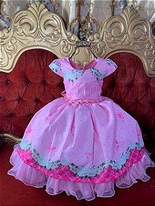 Vestido Rosa com flores 2616