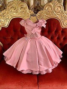 Vestido infantil rosé de luxo 2633