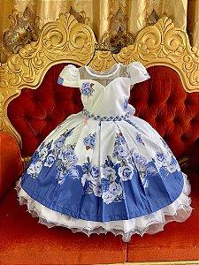 Vestido  Branco com Azul