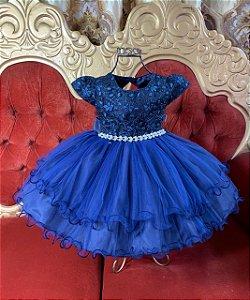 Vestido Infantil  Azul Marinho 2040