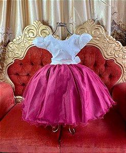 Vestido infantil marsala com nude