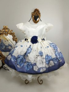 Vestido Infantil  floral azul 2058