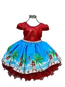 Vestido infantil  Moana luxo
