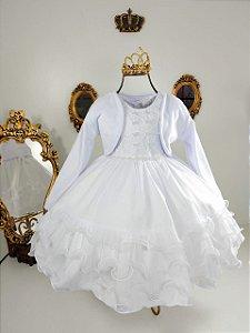 Vestido infantil branco  com casaco 2492