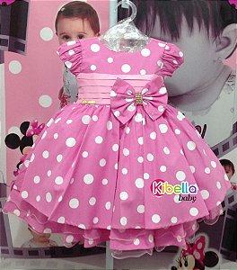Vestido Minnie Rosa de Festa Disney Luxo - Tam 1 / 3