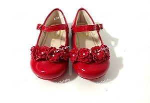Sapatilha Pampili Vermelha detalhe Flores - Tam 15x22