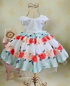Vestido Infantil rosas com borboletas