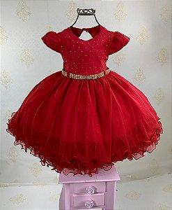 Vestido Infantil vermelho menina bonita