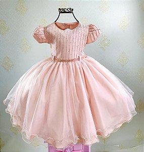 Vestido Infantil rosé luxo menina bonita