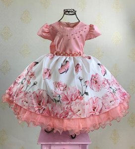 Vestido Infantil floral jardim luxo rosé floral