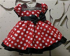Vestido da Minnie Vermelha com Bolinhas Brancas TAM: 1 ao 3