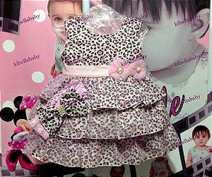 Vestido Infantil de Onça Bebê com Faixa de Cabelo - tam M e G
