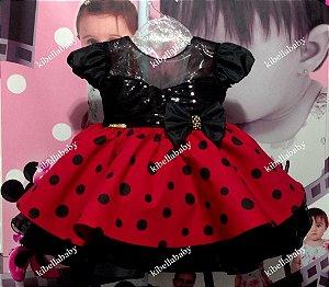 Vestido Infantil Minnie Vermelho com Paetê Tam - P ao G