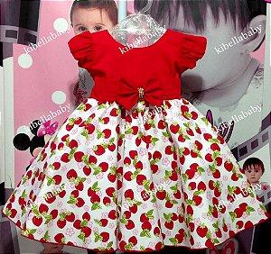 Vestido Infantil Moranguinho com Laço tam 1 ao 3