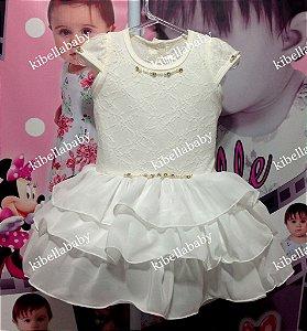 Vestido Infantil Branco Gelo Kokabu -  Tam 1 ao 3