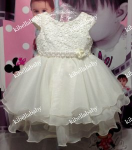 Vestido Infantil Luxo Pupila com Cinto de Pérola