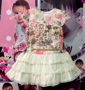 Vestido Infantil Kokabu com Cinto de Strass - tam 1 ao 3