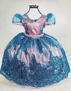 Vestido Realeza festa aniversario luxo infantil renda azul rosa