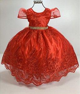 Vestido vermelho realeza luxo riqueza renda minnie vermelha luxo