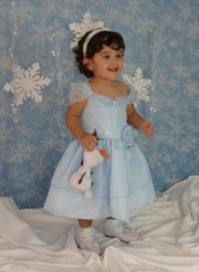 Vestido Infantil de Festa Princesa Frozen - Tam 1