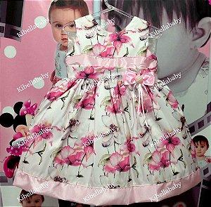 Vestido Infantil Floral Carmo - Tam 1 ao 4