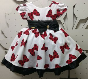Vestido Infantil Minnie Laço  Tam: 1 ao 3