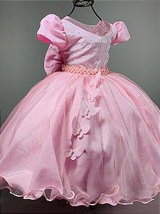 Vestido Infantil Rosa borboletas aniversario festa casamento