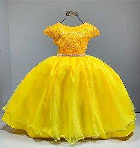 Vestido Infantil Amarelo bela e a fera aniversario longo festa