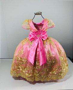 Vestido infantil Realeza Rosa com renda dourada luxo reinado