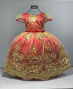 Vestido infantil Realeza  Vermelho com renda dourada luxo reinado