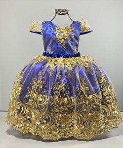 Vestido infantil Realeza Azul Royal  renda dourada reinado