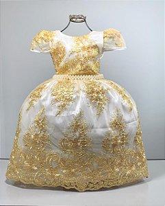 Vestido infantil Realeza Branco com renda dourada