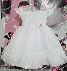 Vestido Infantil de Festa Branco - tam 1 ao 3