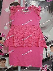 Vestido Infantil Rosa de Malha - tam 4 e 6