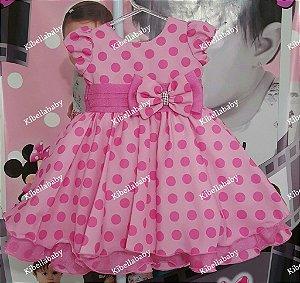 Vestido Infantil Rosa personagem - tam 1 ao 3
