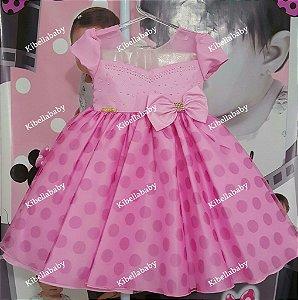 Vestido Infantil de Festa Minnie/Peppa Rosa - tam 1 ao 3